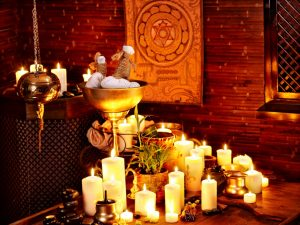 Ayurvedic spa massage interior