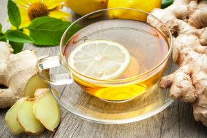 Ginger tea with lemon