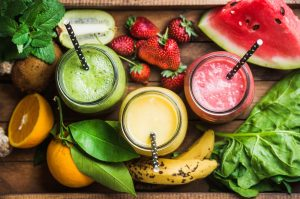 Fresh smoothie with seasonal fruits