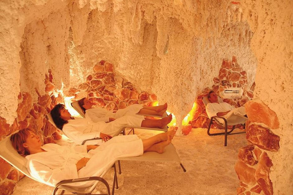 People relaxing in a salt spa cave in Germany