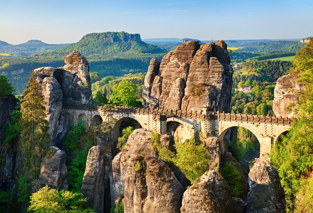 Morning view of Bastei rocks and bridge in Saxon Switzerland, Germany