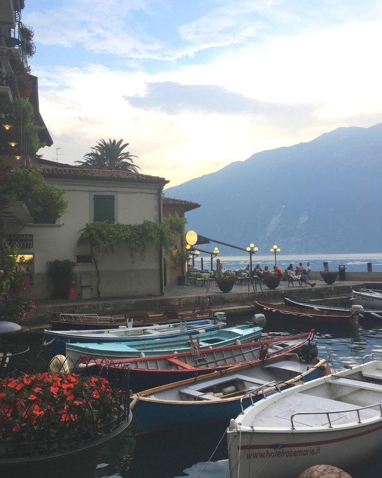 Harbour in Sirmione at sunset. One of the best places to visit in Lake Garda. With SpaDreams