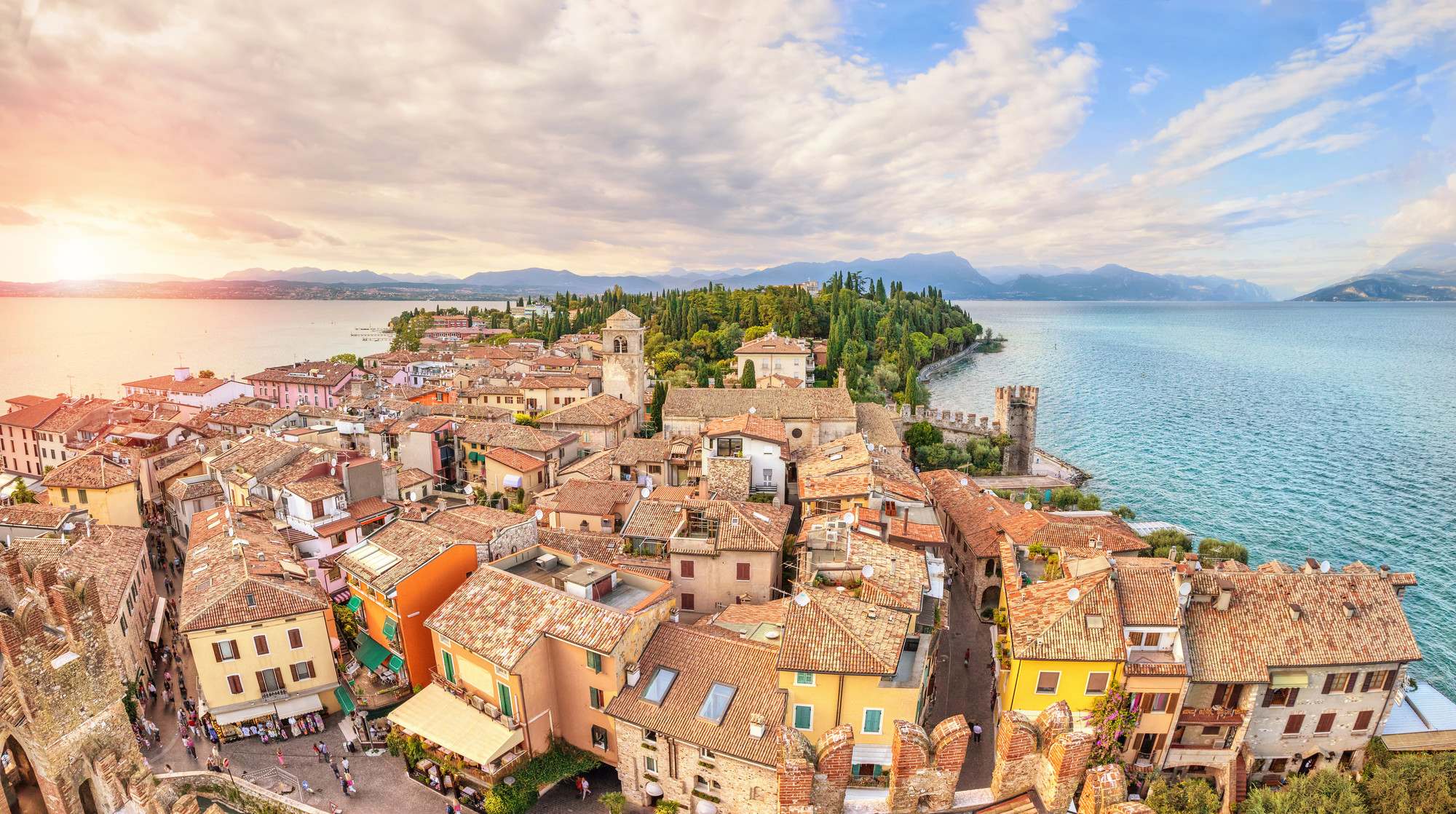 Panoramic view of the historical town Sirmione. Best towns and spas to visit in lake garda, SpaDreams