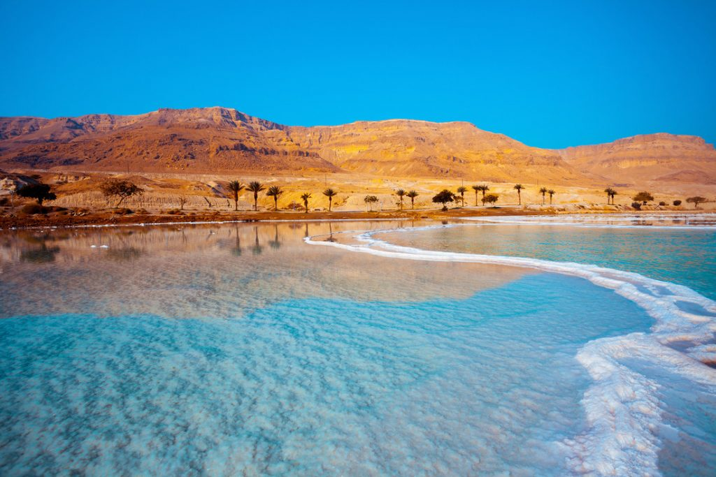 Dead Sea seashore with palm trees and mountains on background, one of the best spring break destinations