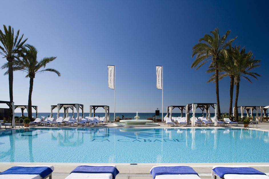 Los Monteros Spa outdoor swimming pool in the sun