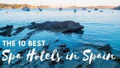 The 10 Best spa hotels in spain - title picture with blue water and sailing boats in the distance