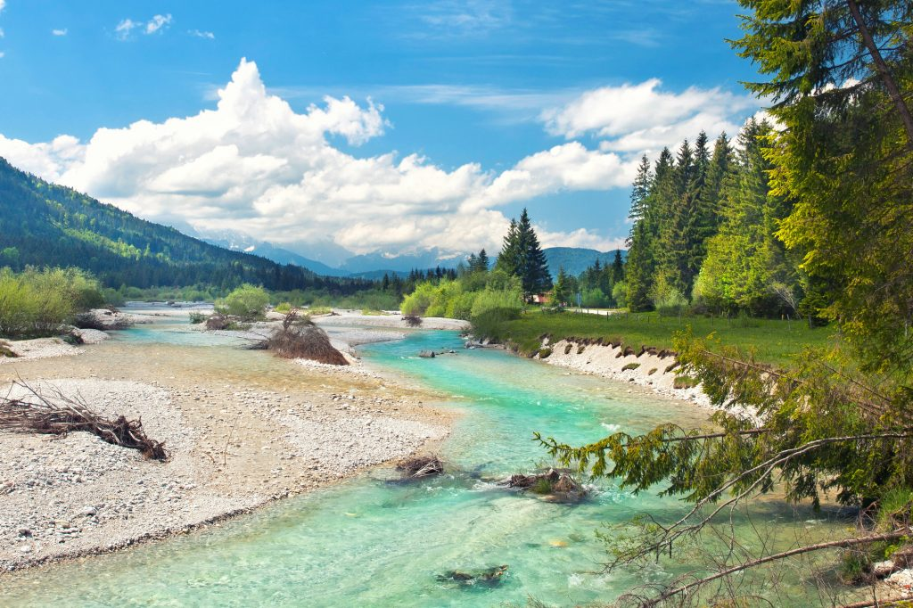 Turquoise river Isar, Bavaria on a sunny summer day...