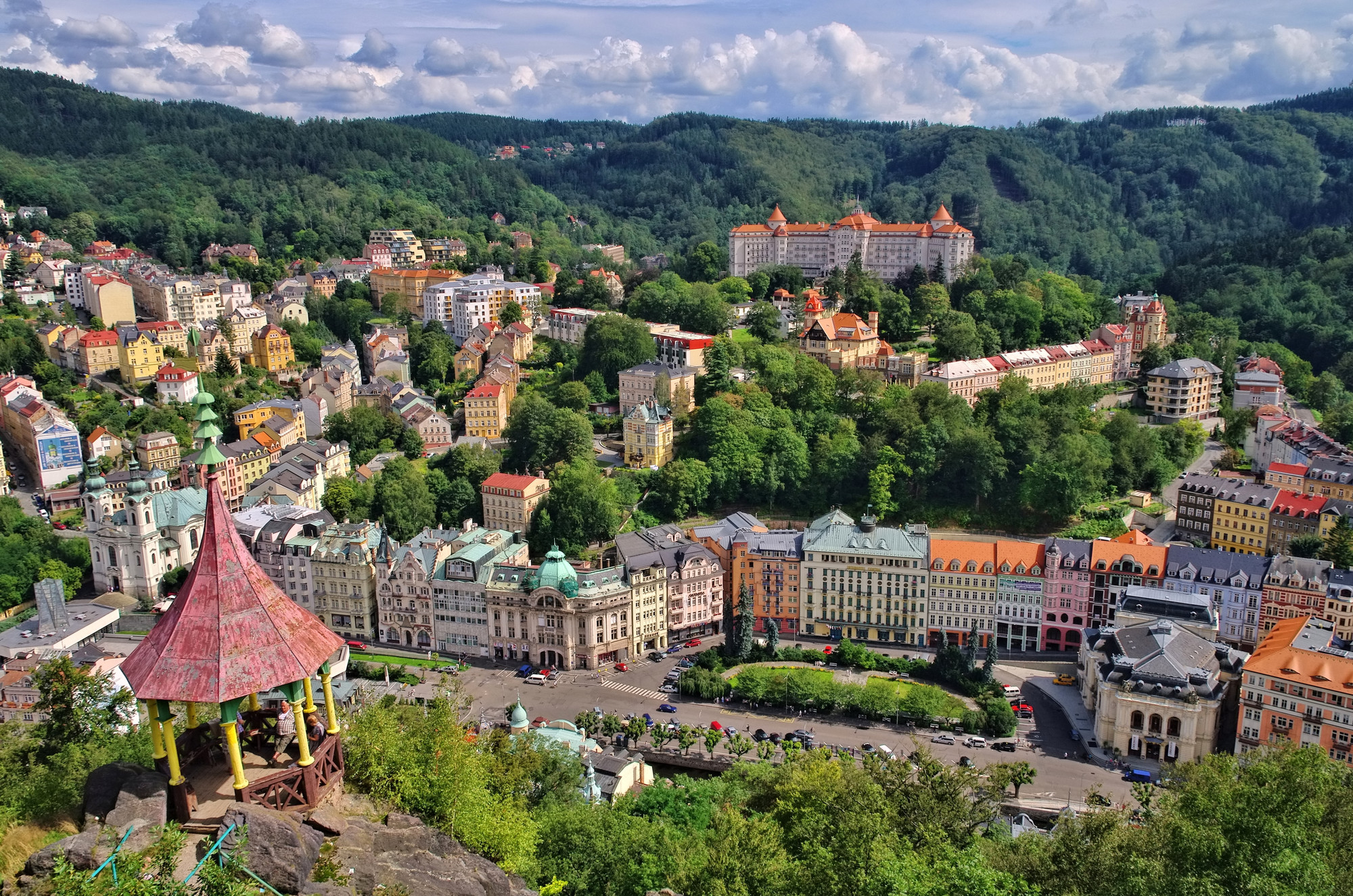 Karlovy Vary in Czechia, panorama of the tree-filled town