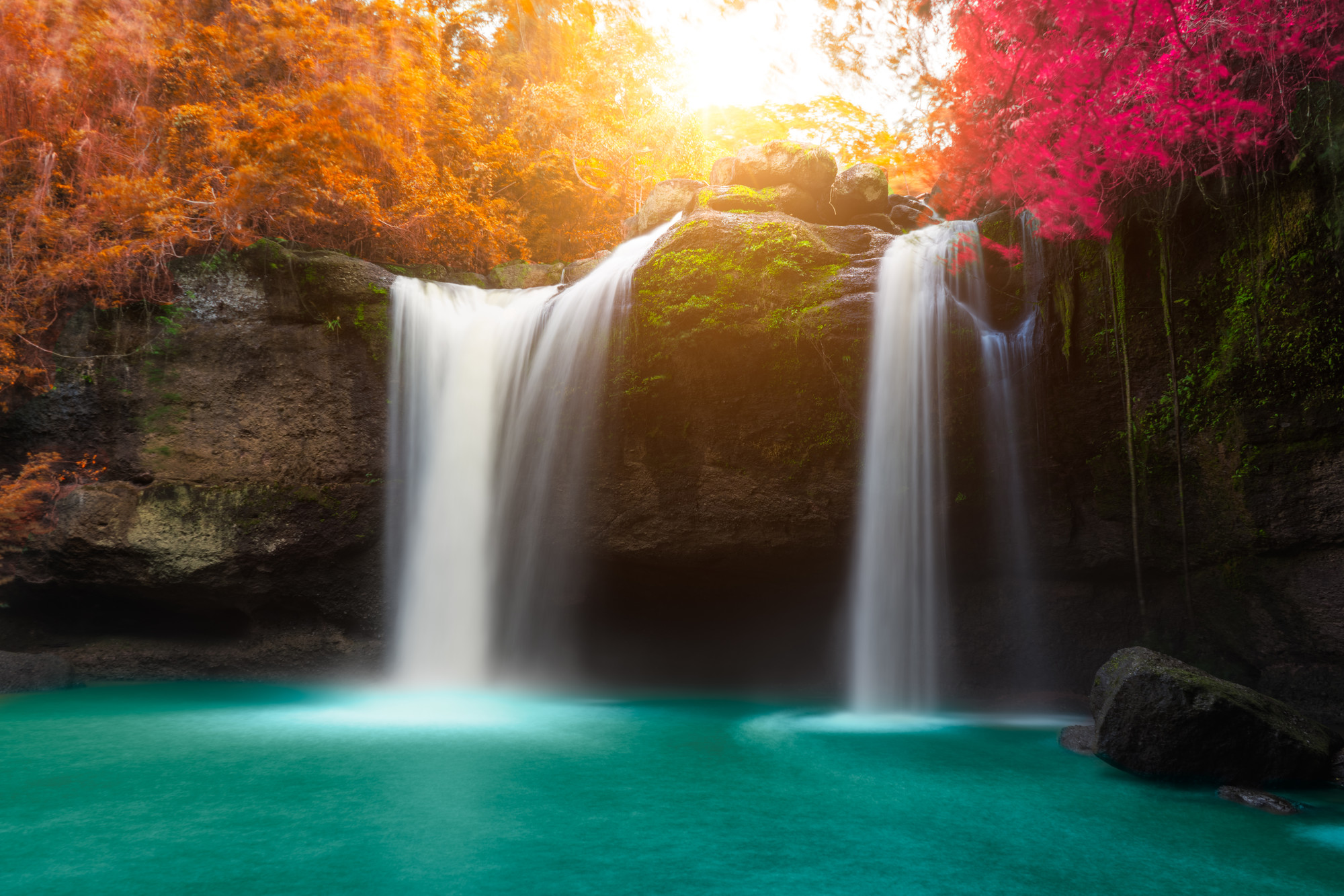 Amazing beautiful waterfalls in autumn forest at Haew Suwat Waterfall in Khao Yai National Park, Thailand
