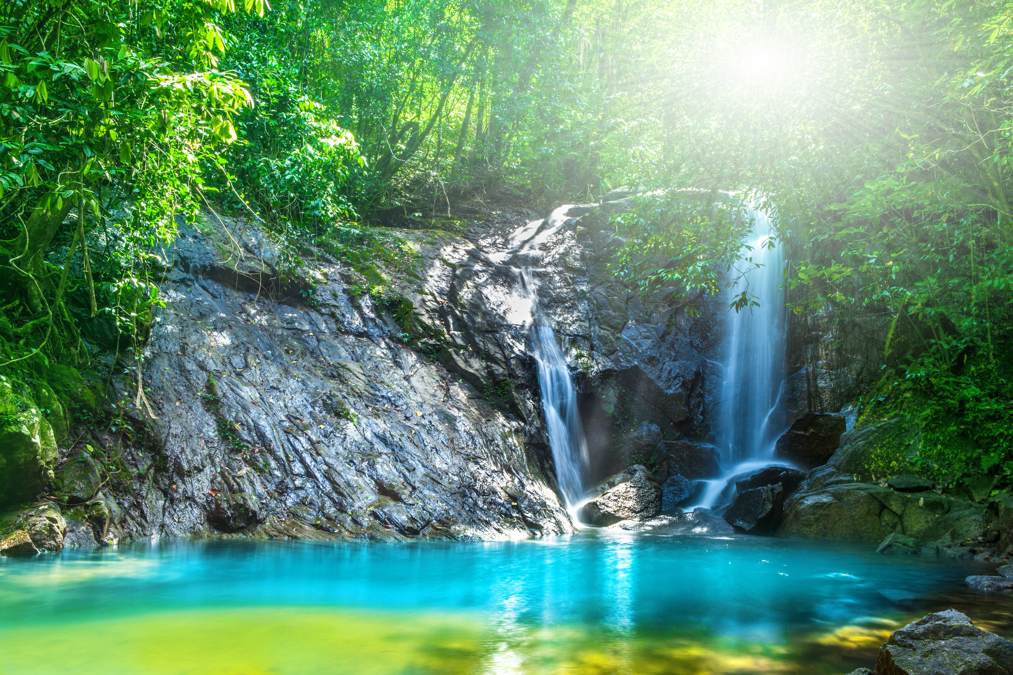 Tropical waterfall in the forest,Ton Chong Fa in khao lak Phangnga South of Thailand