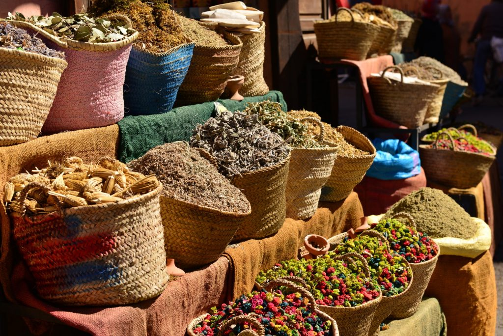 Baskets with herbs for Ayurvedic treatments
