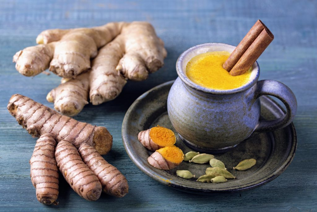 Golden milk in a blue cup left of two ginger roots for weight loss with Ayurveda