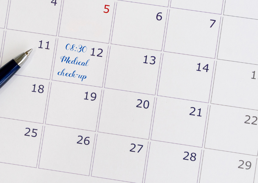 Week planner with appointment for medical check-up - preventive healthcare